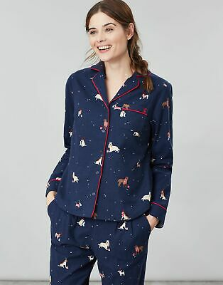 Joules Womens Cait Button Through Long Sleeve Classic PJ Top - XMAS DOGS Size 8