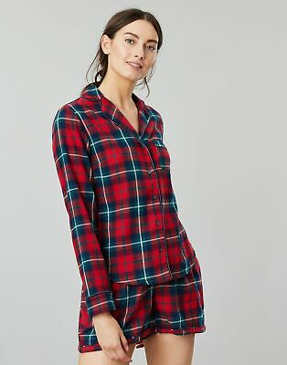 Joules Womens Cait Button Through Long Sleeve Classic PJ Top - RED CHECK Size 8
