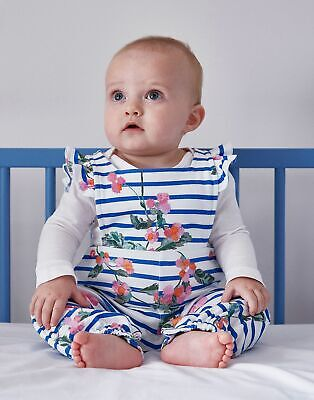 Joules Baby Eliza Jersey Dungaree Set - WHITE STRIPE FLORAL Size 9m-12m