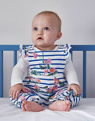 Joules Baby Eliza Jersey Dungaree Set - WHITE STRIPE FLORAL Size 6m-9m