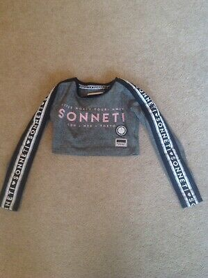 Girls SONNETI Crop Grey Pink Top Age 8-10 Yrs Track Top