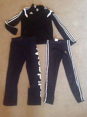 Girls ADIDAS Leggings Track Top Bundle Age 9/10 Yrs YM 140cm Black Navy