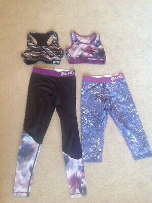 Girls USA PRO Sports Gym Gear Clothing Bundle Age 7/8 9/10 Purple Black Crop