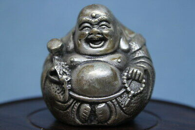 Collectable Decorative Handwork Miao Silver Carved Buddha Rare Auspicious Statue