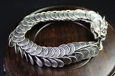 Decorative Collection Miao Silver Carved Dragon Filaments Body Exquisite Bracele