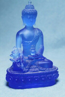 Collectable Decor China Coloured Glaze Carved Buddha Still Sit Exquisite Statue