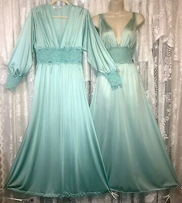 VTG Vanity Fair M L+ Seafoam Silky Nylon Lace Peignoir Robe Nightgown olga esque