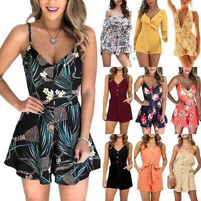 Women's Summer Beach Floral Mini Jumpsuit Rompers Playsuit Holiday Party Shorts