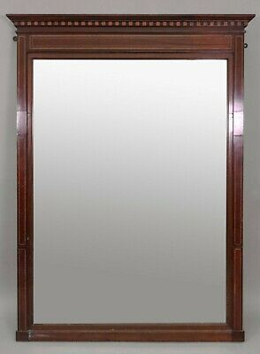 Stunning Antique Edwardian Inlaid Mahogany Overmantel Wall Mirror w/ Cornice