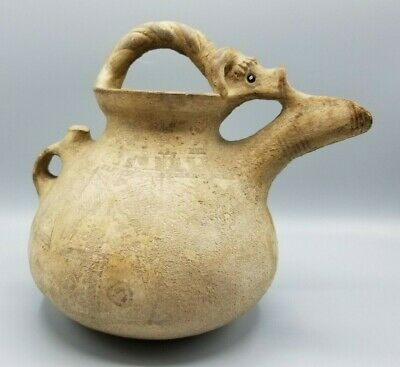 Ancient Cypriot Cypro-Geometric Pottery Terracotta Rams Head Askos Jug