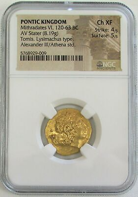 120-63 Bc Gold Ancient Greece Pontic Kingdom Stater Mithradates Vi Ngc Ch Xf 4/5