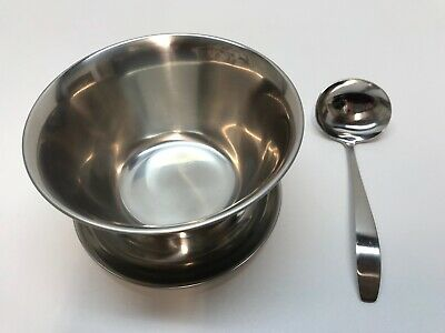 Stainless Steel Gravy Boat Sauce Bowl with Ladle Vintage 80s Leonard Silver Mfg.