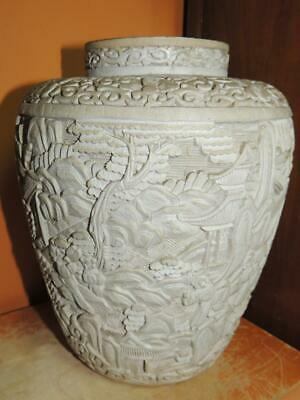"Antique White Cinnabar 9"" Vase lacquer brass deep carving Chinese Qing/ Republic"