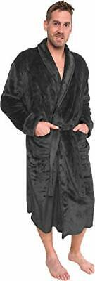 Ross Michaels Mens Plush Shawl Collar Kimono Bathrobe Robe (Large/X-Large|Grey)