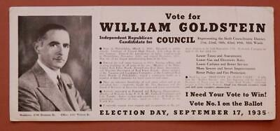 1935 William Goldstein Republican 6th Councilmanic District Philly Blotter Sec2