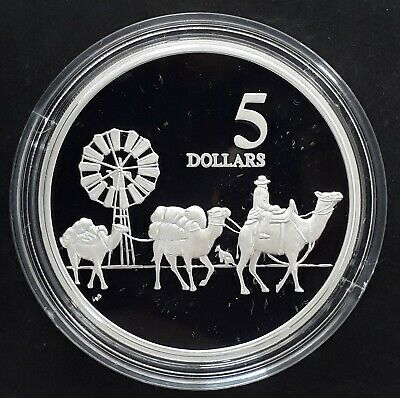 1997 Australia Opening of the Continent: Camels Silver (.925) $5 coin