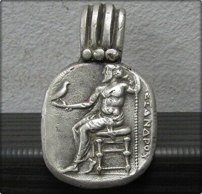 ** ZEUS ** Ancient Silver Legionary Greek Pendant ** AMAZING **