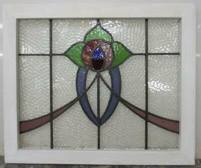"MIDSIZE OLD ENGLISH LEADED STAINED GLASS WINDOW Beautiful Rose 23.75"" x 20"""