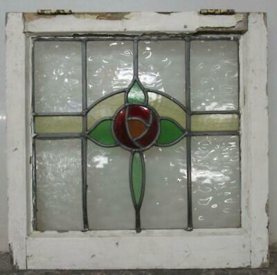 "OLD ENGLISH LEADED STAINED GLASS WINDOW Pretty Rose Design 19.75"" W x 19.5""H"