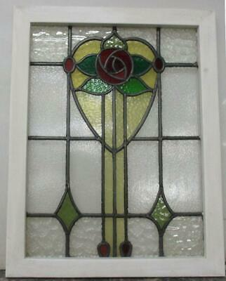 "MIDSIZE OLD ENGLISH LEADED STAINED GLASS WINDOW Beautiful Rose Design 20.5"" 26"""