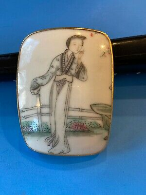 Antique Chinese Famille Rose Porcelain Figural Pendant Gilt Frame