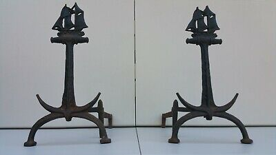 Fantastic Pair of 1920's Cast Iron Anchor Andirons with Sailing Ship.