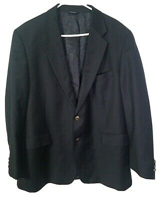 Brooks Brothers 346 Men's 48R Silver Decrotive Buttons Navy 2-Button Sports Coat