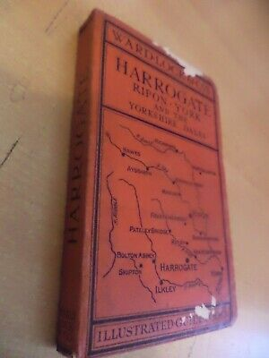 HARROGATE RIPON YORK 1930s? WARD LOCKS RED GUIDE OLD ANTIQUE MAP TRAVEL BOOK