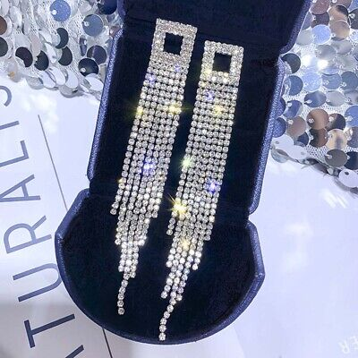 Rhinestone Drop Earrings Square Long Tassel Crystal Dangle Earring Jewelry Gifts