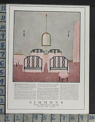 1923 Home Decor Bedroom Simmons Mattress Bed Spring Design Vintage Ad Cp68