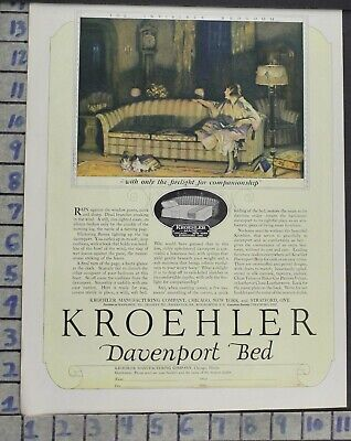 1924 Kroehler Davenport Couch Bed Sleeper Sofa Home Decor Vintage Art Ad Bp68