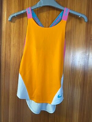 Nike Girls T-Shirt Age 6-10 Years New Tags Orange Pink Vest