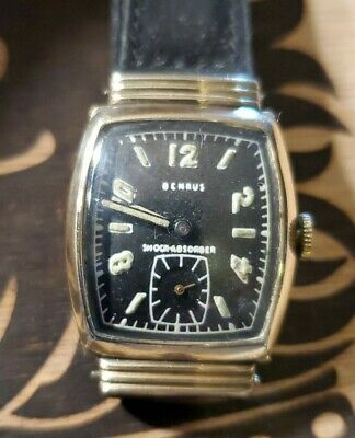 1950s Art Deco Benrus Rare black dial super clean mens watch