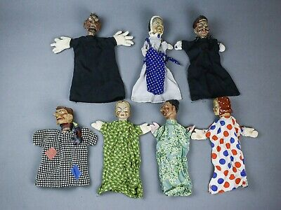 vintage hand painted PUNCH & JUDY puppet glove antique victorien theatre 2 ☆☆☆