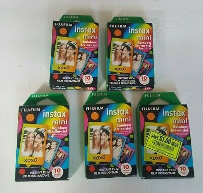 FujiFilm Instax Mini Rainbow Instant Film Lot of 5 - 50 Sheets Expired 10/19