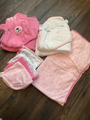 Infant Baby Girl Bath Towels Set With Washcloths, Carters, Pink, Cats, Sheep
