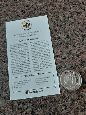 Solid Silver Falkland Islands 50P Coin, 2002 Coronation Regalia, Brilliant Unc