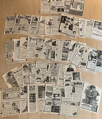 Lot of 50 Antique American Magazine Full Paper Ads from 1908 Advertisements Old