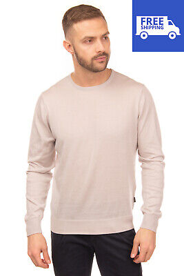 Collar And Ribbed Cuffs Mens Bench Cotton Fine Gauge Crew Knit In Grey Marl