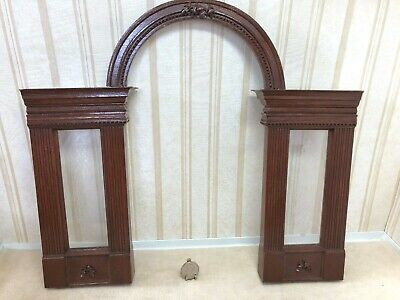 Dollhouse Miniature Two Etched Glass Window Arched Top Cherry Room Divider 1:12