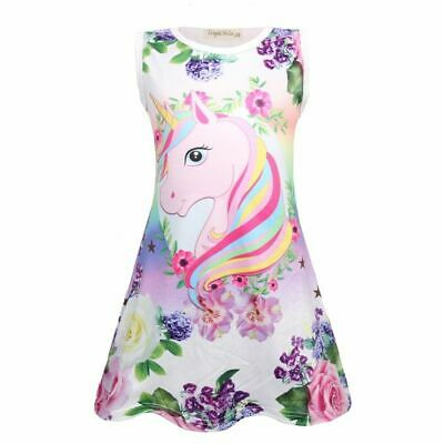 Summer Girls Unicorn Dress Children Party Birthday Sleeveless Dresses
