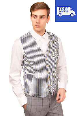 RRP €190 MITCHUMM INDUSTRIES Waistcoat Size 48 / M Striped Y Neck Made in Italy