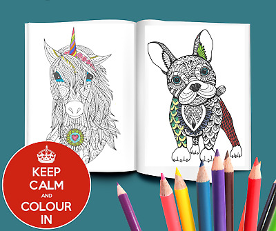 ZEN ANIMALS Adults Kids Colouring book pages inspirational quote wall art prints