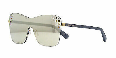 Jimmy Choo Mask//S 137 Women Sunglasses Silver//Nude Brown Gradient NEW Shield