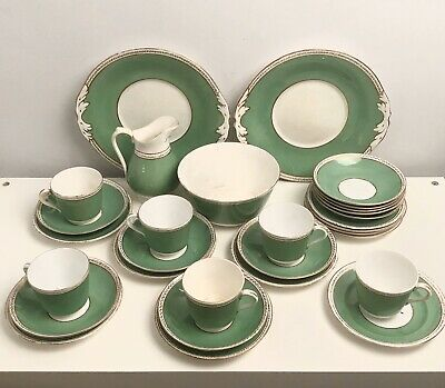 Antique Jade Green & White Tea Set Incl Plates, Teacups & Saucers, Bowl, Jug