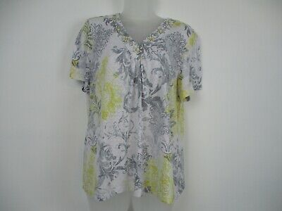 Women's Alfred Dunner s/s City Lights Blouse Top Gray/Yellow/White sz Large
