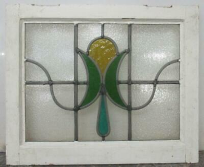 "OLD ENGLISH LEADED STAINED GLASS WINDOW Abstract Floral Sweep 20"" x 16.5"""