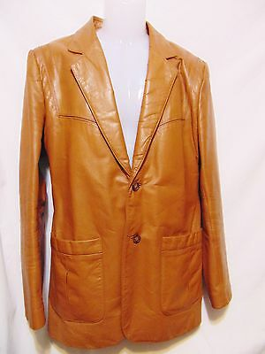 CHESS KING Vintage 70's/80's Leather Jacket Size 40 Tan Hipster Cafe Mod Club