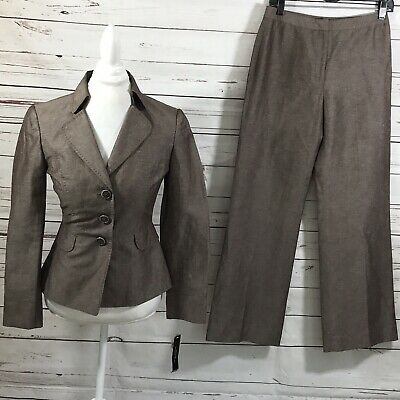 Tahari ASL Women's 2PC Pant Suit Brown Blazer Buttons size 4 NWT Retail $280