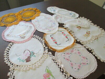 12 Vintage Retro Doilies. Hand Embroidered, Crocheted.Lovely Mix. Craft, Mixture